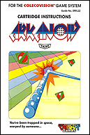 Arkanoid Manual, Front © ColecoVision.dk