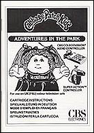 Cabbage Patch Kids CBS Manual, Front © ColecoVision.dk