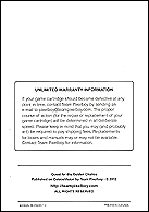 Quest for the Golden Chalice Manual, Back © ColecoVision.dk