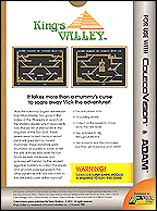 King's Valley Box, Back © ColecoVision.dk