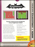 Knightmare Box, Back © ColecoVision.dk