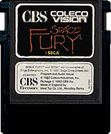 Space Fury CBS Cartridge, Front © ColecoVision.dk