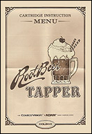 Root Beer Tapper Manual, Front © ColecoVision.dk